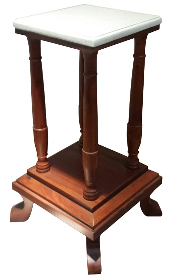 Mahogany plant stand with Marble terazzo top